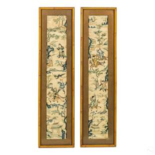 Chinese Embroidered Silk Landscape Hanging Panels