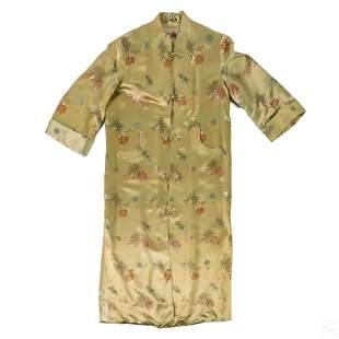 "Chinese Embroidered 55"" Silk Nightgown Kimono Robe"