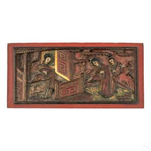 Chinese Deep Relief Carved Red Lacquer Wood Panel