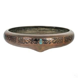 Chinese Bronze Champleve Black Enamel Dragon Bowl