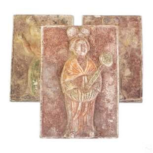 Chinese Terracotta Ceramic Figural Tomb Tiles Set