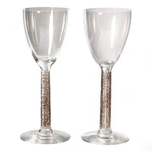 Pair Rene Lalique French Phalsbourg Wine Glasses