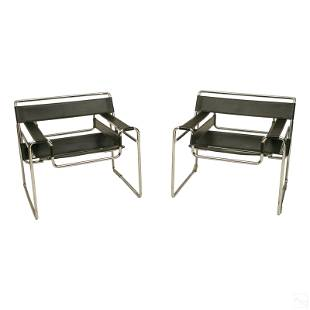 Marcel Breuer 2 Wassily Chrome Leather Arm Chairs