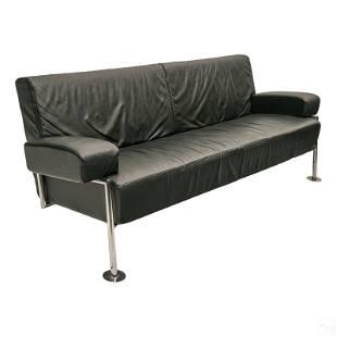 "Modern 76"" Black Leather and Chrome Designer Sofa"