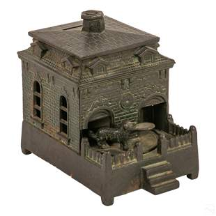 Dog on Turntable Cast Iron Mechanical Coin Bank