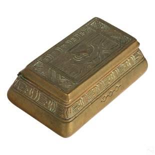 Tiffany Studio Bronze Art Deco Desk Stamp Box