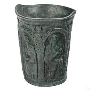 Tiffany Studios Antique Bronze Relief Cup Vase