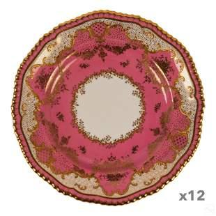 Davis Collamore Copeland Gilded Pink Dinner Plates