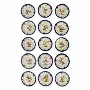 Meissen Antique Porcelain Wildlife Dinner Plates
