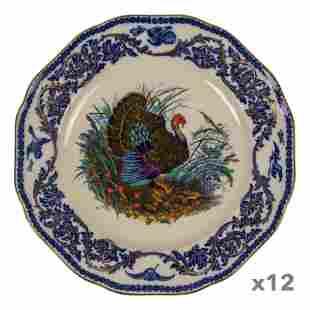 Royal Cauldon English Wildlife Dinner Plates DOZEN