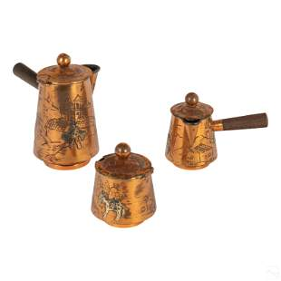 Victoria Taxco Copper & Sterling Silver Coffee Set
