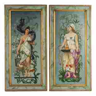 Pair Antique c1877 French Figural Porcelain Panels