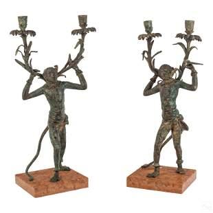 Bronze Harlequin Monkey Two Light Candelabras Pair