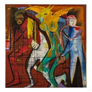 Royi Akavia b.1956 Abstract Graffiti Art Painting