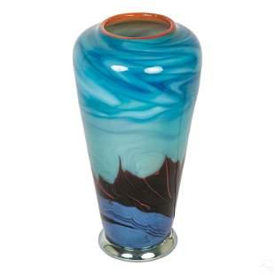 "Carl Radke Phoenix Art Glass Table Lamp Vase 12"""