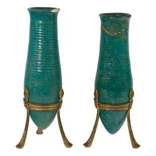 """Durant Kilns 16"""" Turquoise Vases and Bronze Stands"""