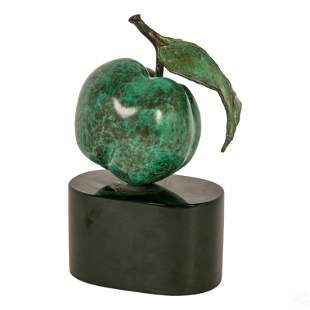 Clara Duque 20th Cen. Bronze Green Apple Sculpture