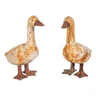 French Antique Cast Iron Duck Statuary Sculptures