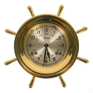 Chelsea Boston Ships Wheel Maritime Brass Clock