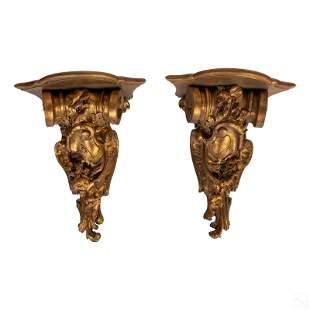Ornate Antique Gold Architectural Shelf Corbels