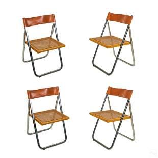 Italian Modern Folding Chrome Cane Leather Chairs