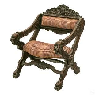 Victorian Antique Ornate Oak Wood Dragon Armchair