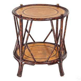 """Maitland Smith 25"""" Round Wood & Leather Side Table"""