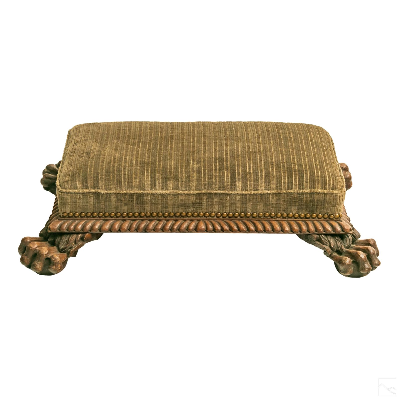 Victorian Antique Carved Oak Lions Paw Foot Stool