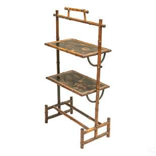 "19c Brighton Bamboo Style 37"" Tiered Tray Shelf"
