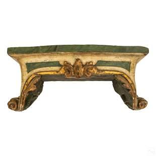 18th C. Italian Carved Wood Scrolled Bracket Shelf