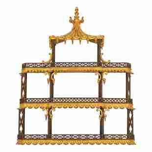 19th C. Victorian Chinoiserie Pavilion Wall Shelf