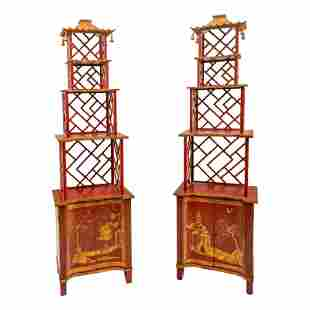 Chelsea House Chinoiserie Pagoda Etagere Cabinets