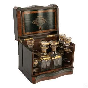 Inlaid Wood Antique Tantalus Decanter Cordial Set