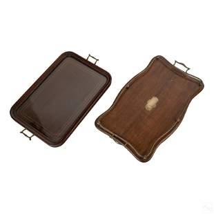 Old English Glass & Wood Tea Trays w Brass Handle