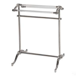 Mid Century Modern Silvered Metal and Lucite Rack