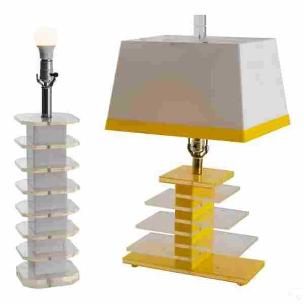 Mid Century Modern Acrylic Lucite Table Lamps LOT