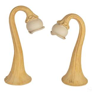 Studio Art Pottery Tulip Night Stand Table Lamps