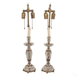 Pr Bronze Mounted Carved Rock Crystal Buffet Lamps
