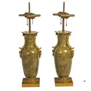 French Dore Bronze Mounted Green Porcelain Lamps