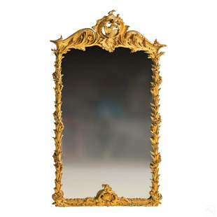 """French 72"""" Antique Gold Leaf Dolphins Pier Mirror"""