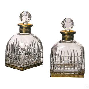 Baccarat French Style Crystal and Bronze Decanters