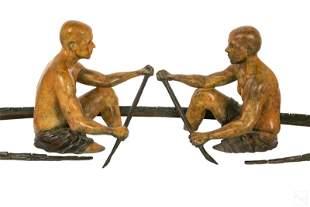 "David Phelps (b.1956) 47"" Bronze Canoe Sculpture"