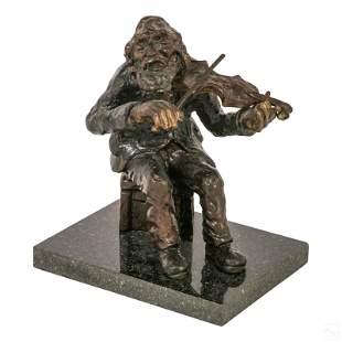 "Bronze 9"" Signed Fiddler on Roof Judaica Sculpture"