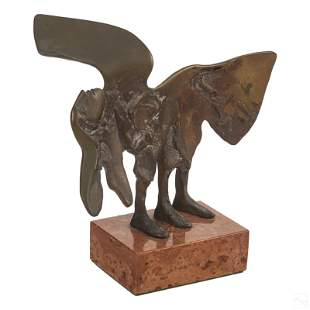 "Modern Abstract Figural 8"" Bronze Sculpture Signed"