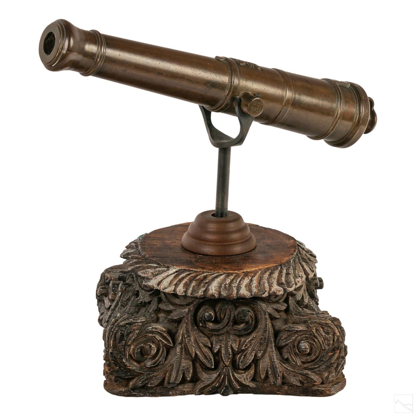 """Bronze War of 1812 British 16"""" GR Cannon Sculpture"""