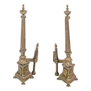 Federal Style Antique Bronze Fireplace Andirons