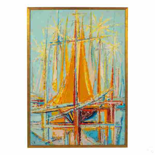 Frederic Menguy 1927-2007 Seascape Boats Painting