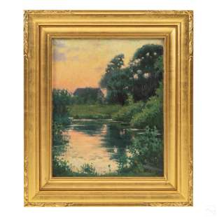 Harold Dunbar (1882-1953) Dusk Landscape Painting