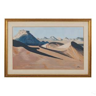 Western Desert Dunes Landscape Gouache Painting