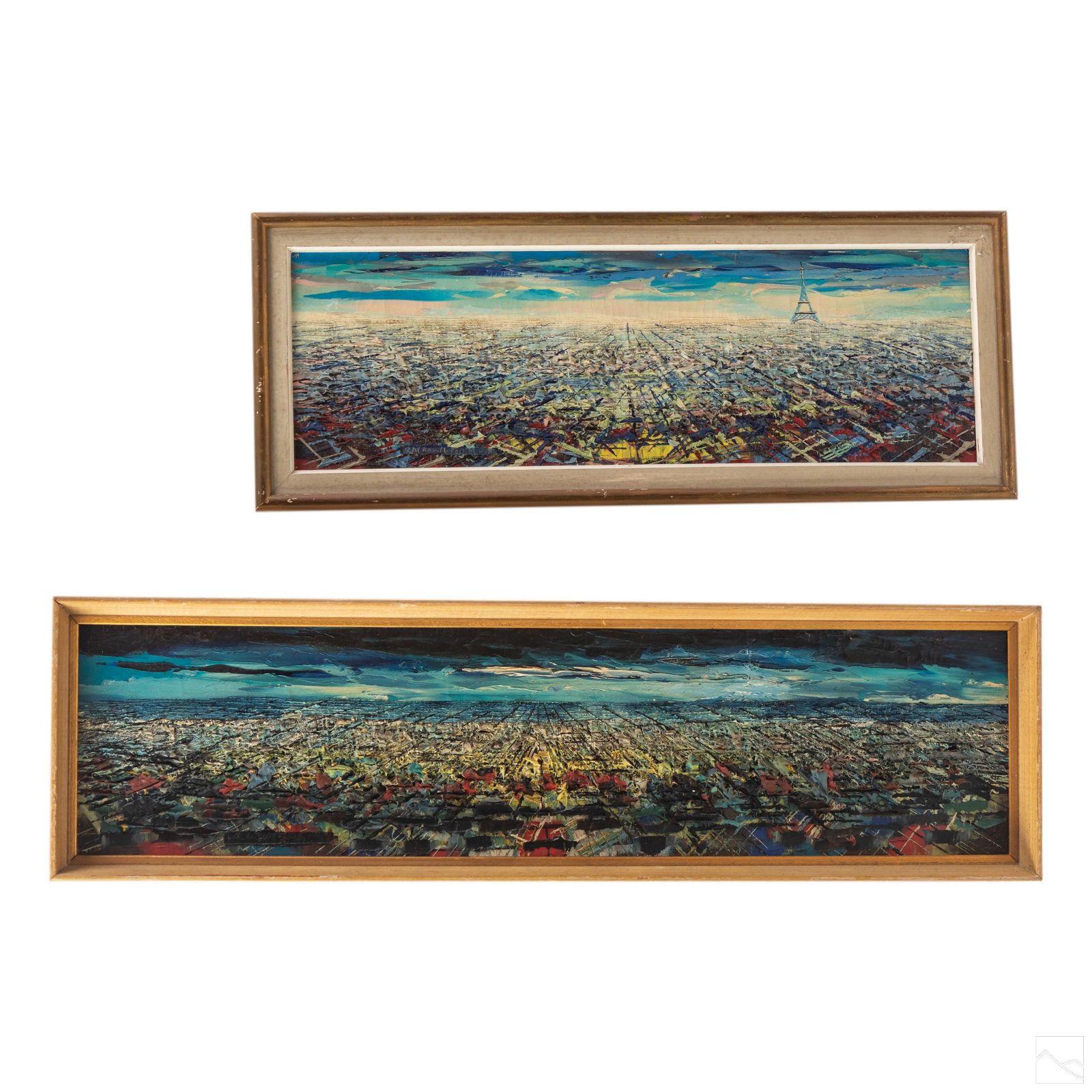 French Modern Impasto Paris Landscape Painting LOT